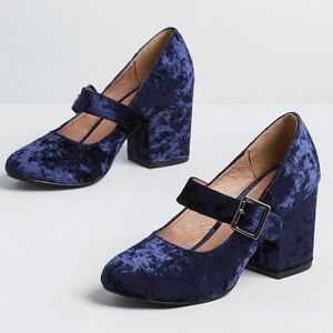 ModCloth blue velvet Mary Jane holiday heels